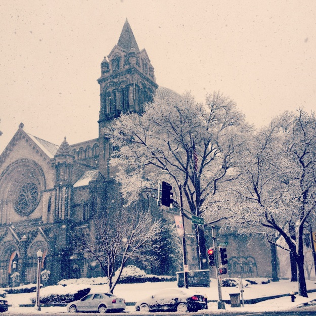It snowed 10 inches while we were in St. Louis. This is the Cathedral Basilica.