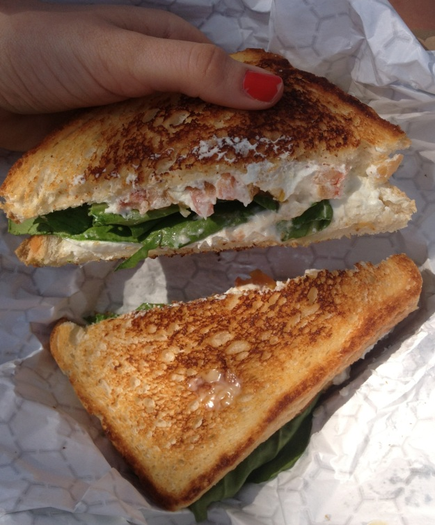 Woah. Just relived eating this by looking at this photo. Goat cheese, prosciutto, arugula and tomato. Get in my belly.